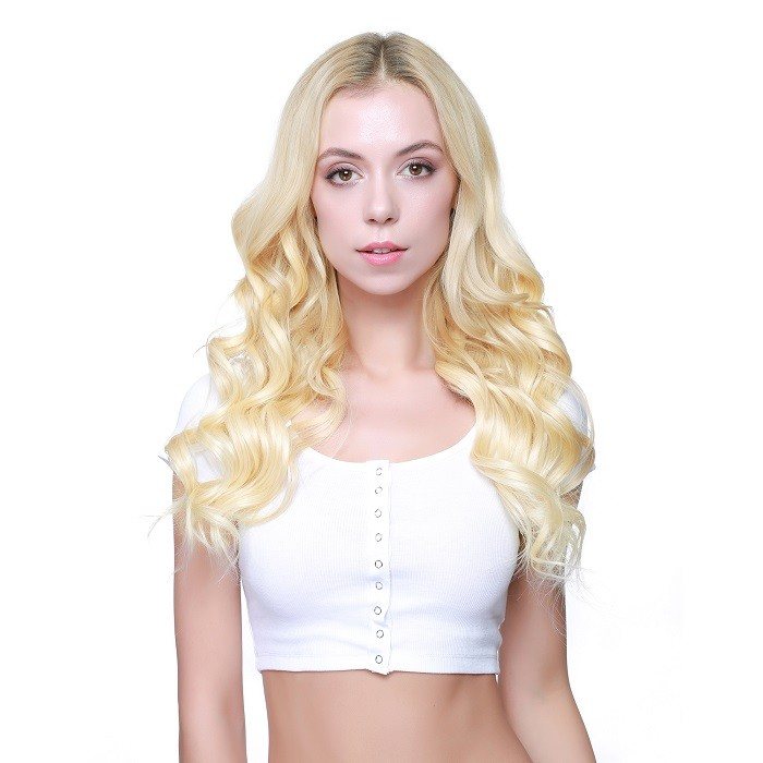 Kriyya Natural Hair Best Seamless Clip In Hair Extensions Blonde 100% Human Hair