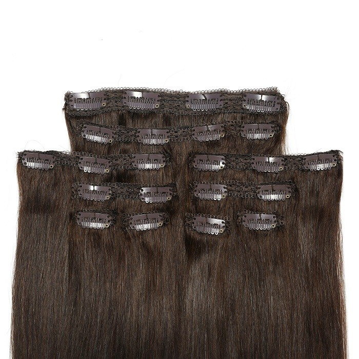Kriyya Clip In Hair Extensions Chocolate Brown Remy Hair 18 Inch Hair Extensions