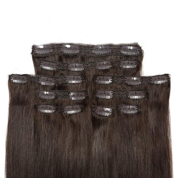 Kriyya Clip In 18 Inch Hair Extensions Dark Brown 100 Human Hair Extensions