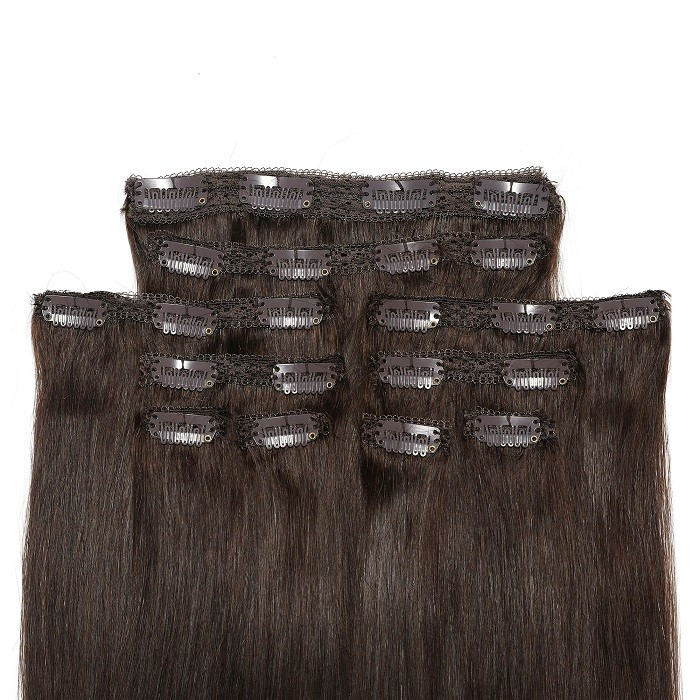 Kriyya Clip In 20 Inch Hair Extensions Dark Brown 100% Human Hair Extensions