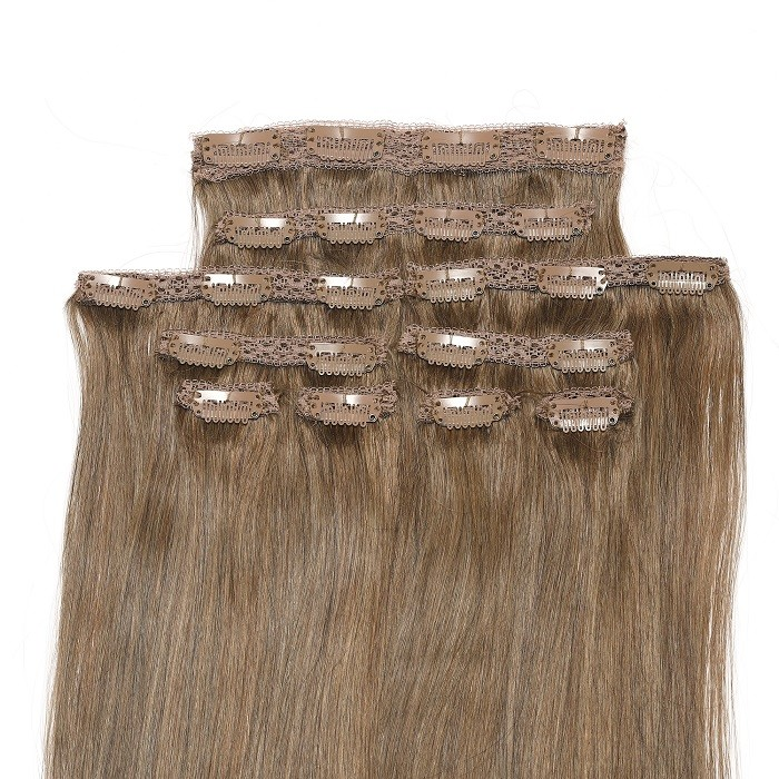 Kriyya Real Hair Extensions Clip Ins Light Golden Brown 18 Inch Hair Extensions