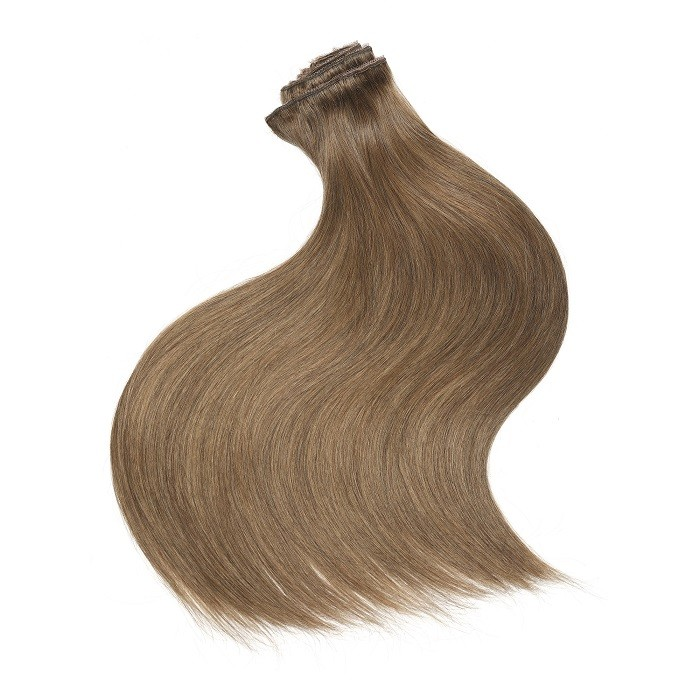 Kriyya Human Hair Clip In Extensions Light Golden Brown 24 Inch Remy Hair