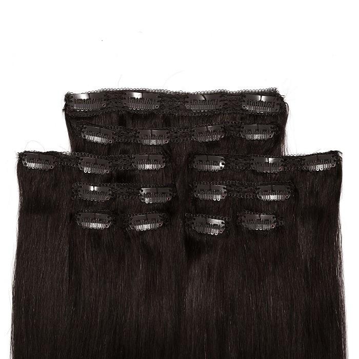 Kriyya Clip Ins Human Hair Extensions Natural Black Real Hair Extensions