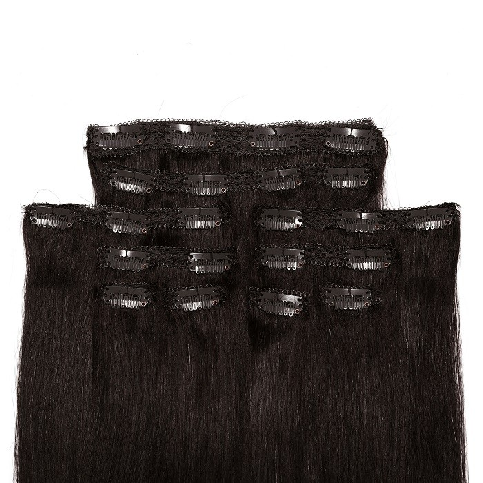 Kriyya Remy Clip In Hair Extensions Natural Black 22 Inch Hair Extensions