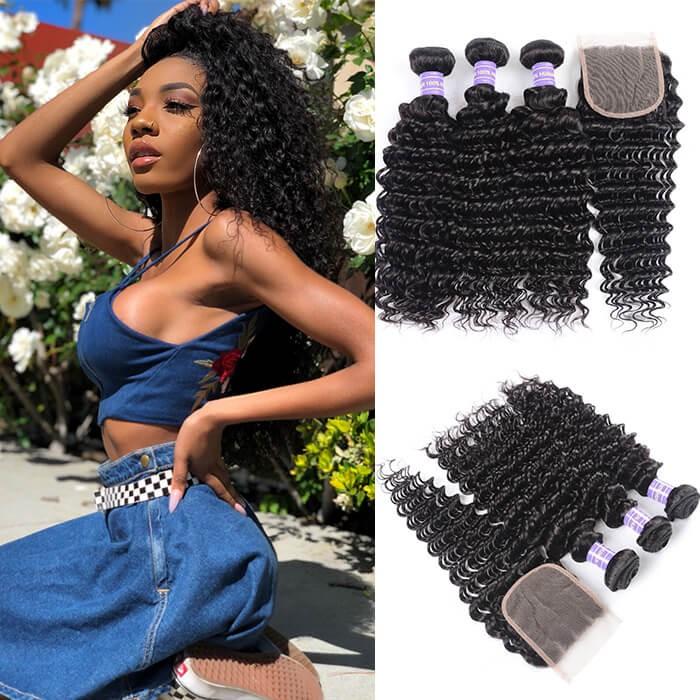 Kriyya Deep Wave 3 Bundles With Lace Closure Indian Virgin 100 Human Hair