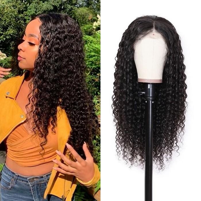 Kriyya Deep Wave Frontal Wig 13X4 Lace Front 180% Density Human Hair Wigs