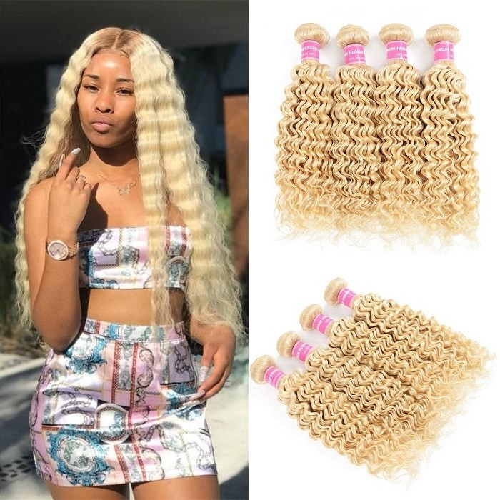 Kriyya Malaysian Best Deep Wave Human Hair Weave 4 Bundles 613 Blonde