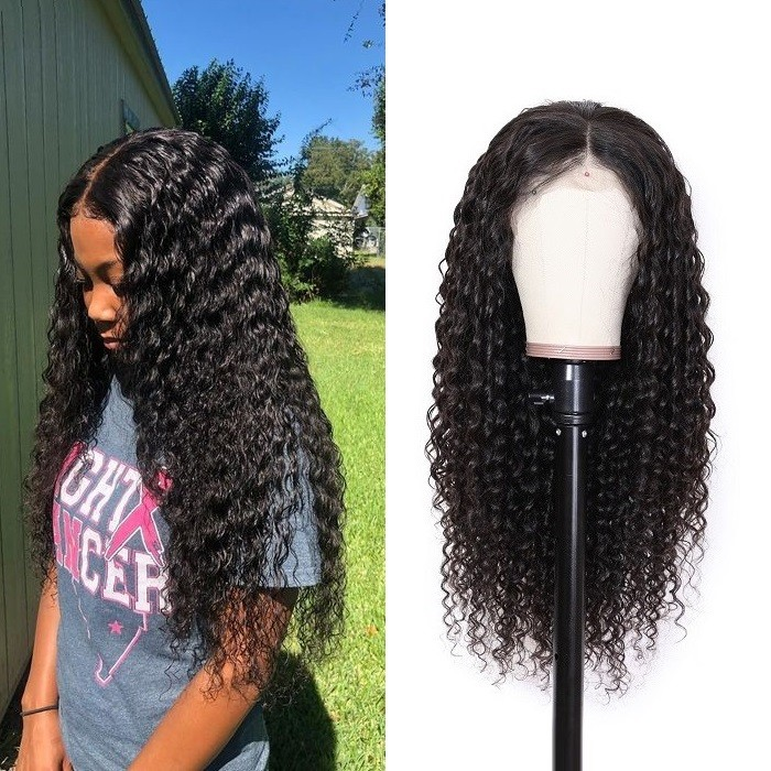 Kriyya 13x6 Lace Frontal Wigs Human Hair Deep Wave Lace Front Wigs 180% Density