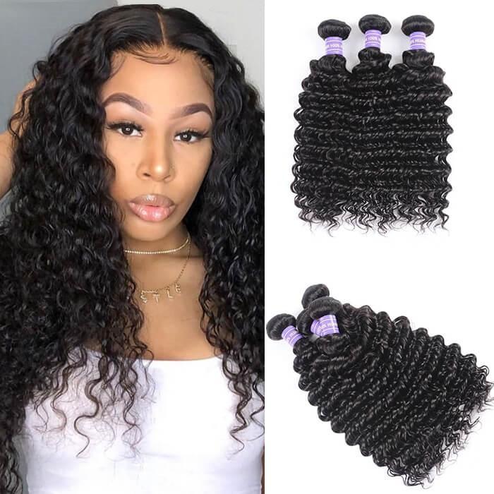 Kriyya Deep Wave Peruvian Virgin Hair 100 Human Hair Bundles 3 Bundles