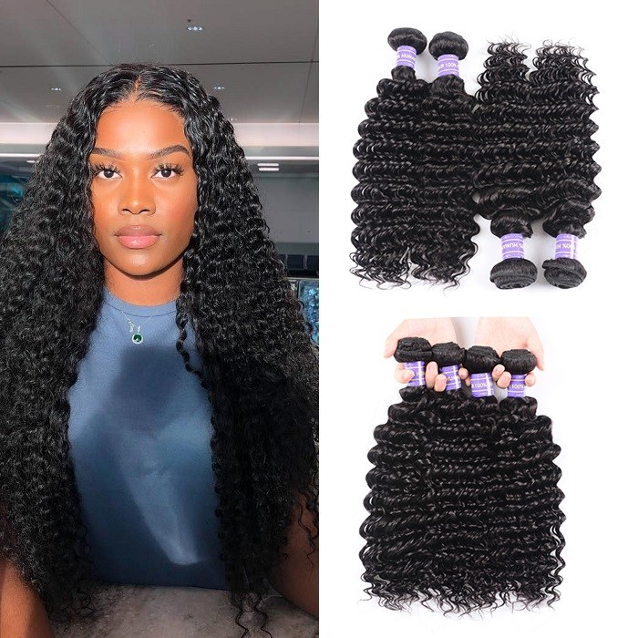 Kriyya Deep Wave Weave 4 Bundles Deals Brazilian Human Hair