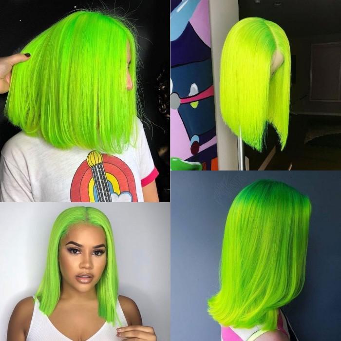 Kriyya Green Bob Lace Front Wigs Blunt Cut 13x4 Straight 150% Density Human Hair Wigs