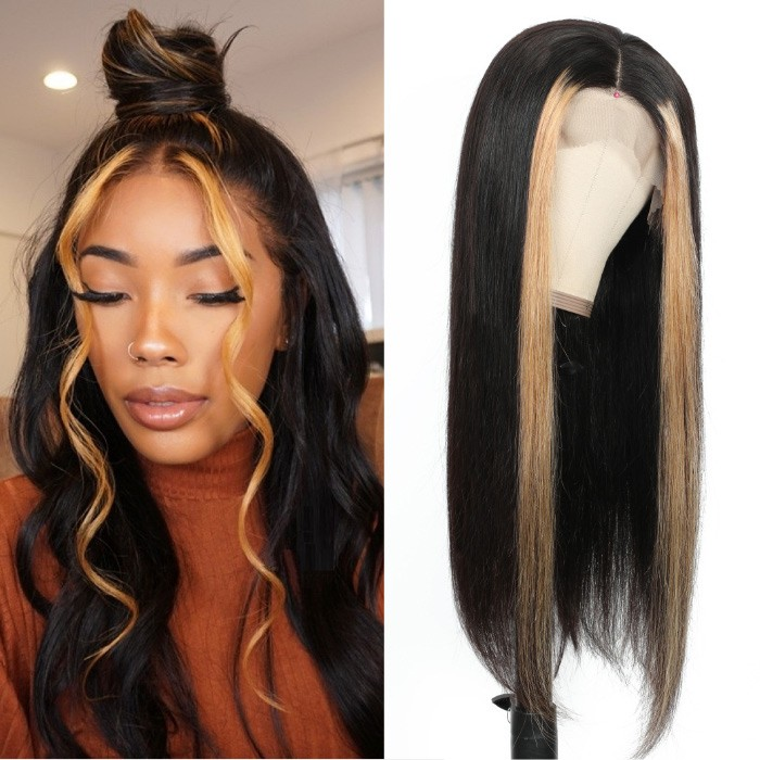 Kriyya Honey Blonde Highlight Wig 13x4 Straight Lace Front Human Hair Wigs With Streaks Pre Plucked 150% Density