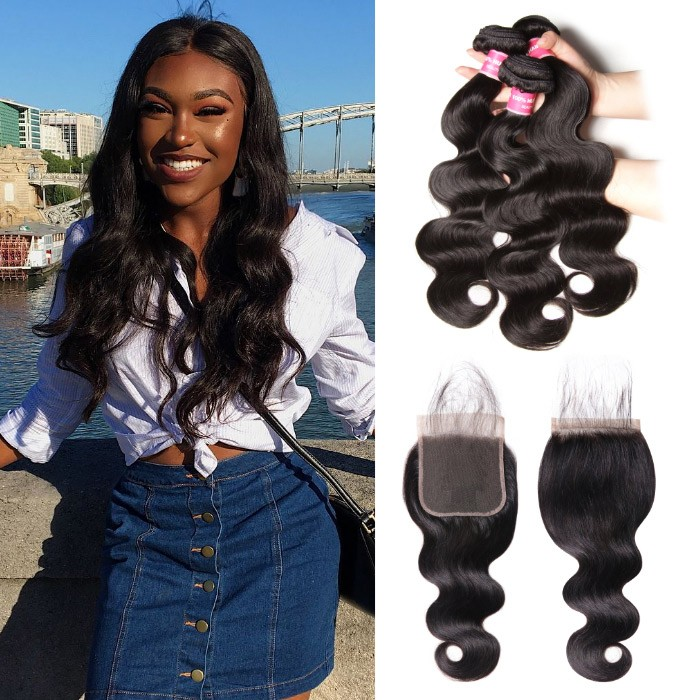 Kriyya Indian Unprocessed 100% Human Hair Body Wave 3 Bundles With Lace Closure 5*5 Inch