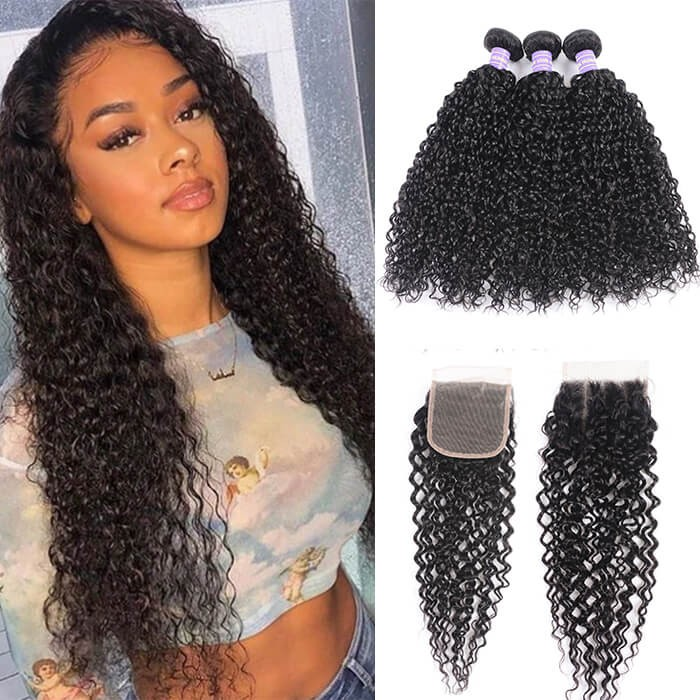 Kriyya Indian Unprocessed 100% Human Hair Jerry Curly 3 Bundles With Lace Closure 4*4 Inch