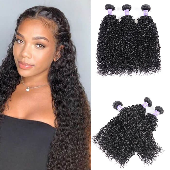 Kriyya Jerry Curly Weave Human Hair 3 Bundles Malaysian 7A Human Hair