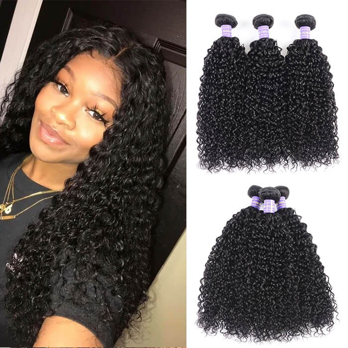 Kriyya Jerry Curly 100 Human Hair Weave Indian Human Hair 3 Bundles 8-26 Inch