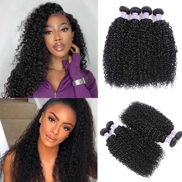 Kriyya Jerry Curly Brazilian Virgin Hair Best 7A Human Hair Weave 4 Pcs