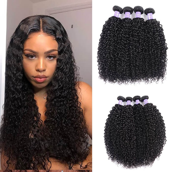 Kriyya Jerry Curly Bundles Indian Virgin Hair 4 Bundles