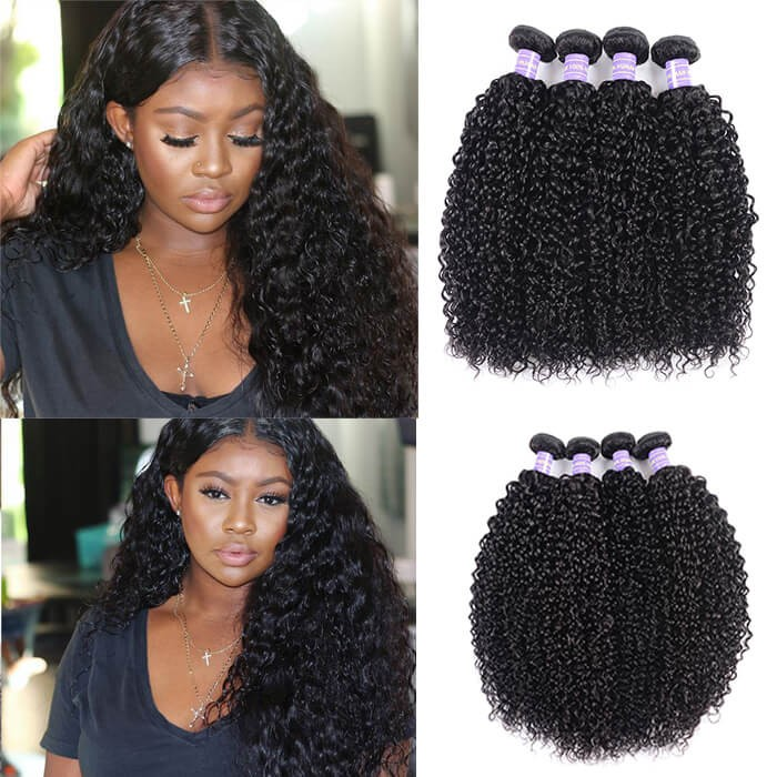 Kriyya Jerry Curly Hair 4 Bundle Deals Peruvian Human Hair Weave 7A Hair