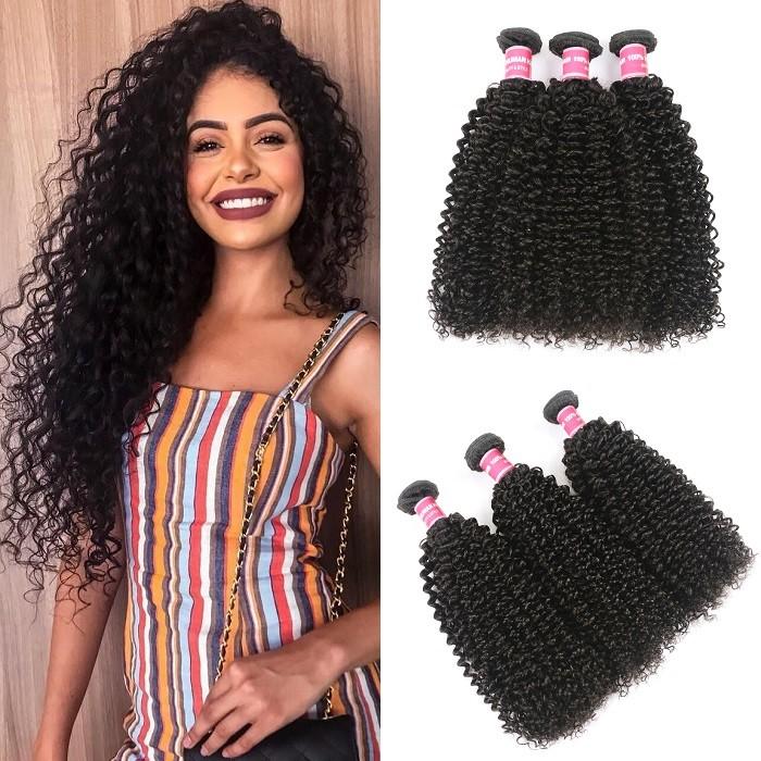 Kriyya Kinky Curly 3 Bundles Brazilian Human Hair Weave