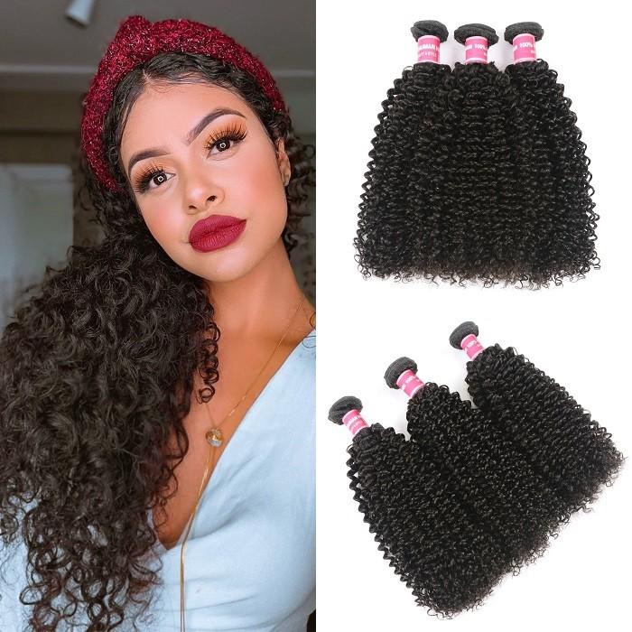 Kriyya Kinky Curly Hair 100 Human Hair Bundles 3 Bundles Natural Color