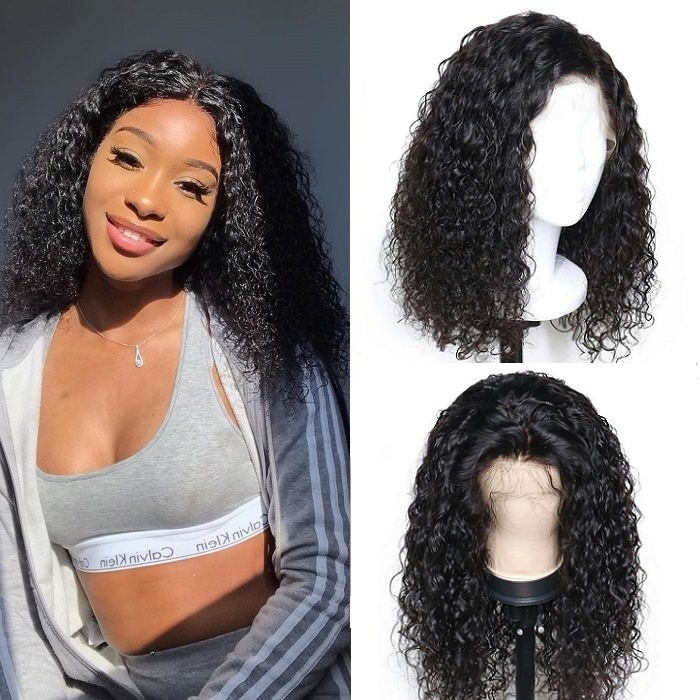 Kriyya Kinky Curly Short Bob Lace Front Wigs 130% 150% Density 13X4 Tranparent Lace Wig