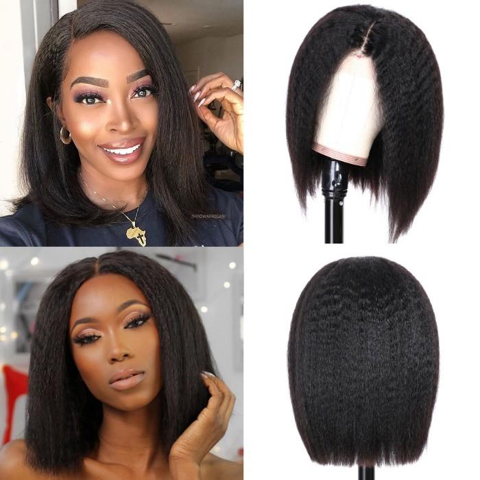 Kriyya Kinky Straight Bob Wig Pre-Plucked Human Hair Wigs With Baby Hair 150% Density Natural Color