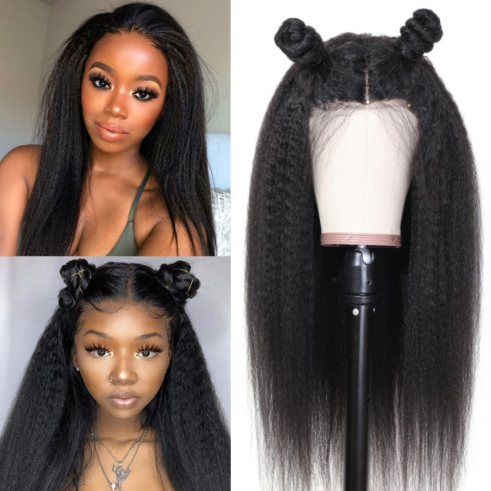 Kriyya Kinky Straight Lace Front Wig 13x4 Lace Frontal Human Hair Wig Pre-Plucked 130% Density