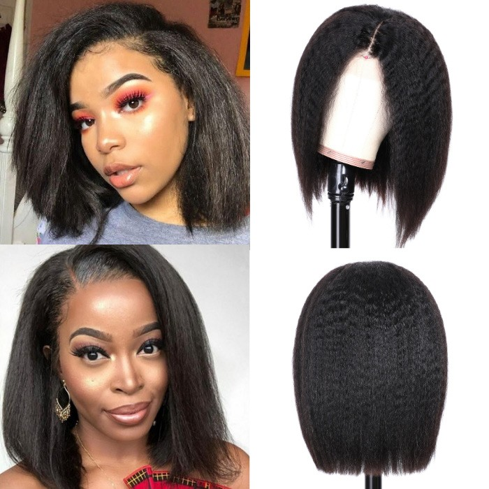 Kriyya Kinky Straight Short Bob Wigs 13X4 Lace Front Human Hair Wig 130% 150% Density