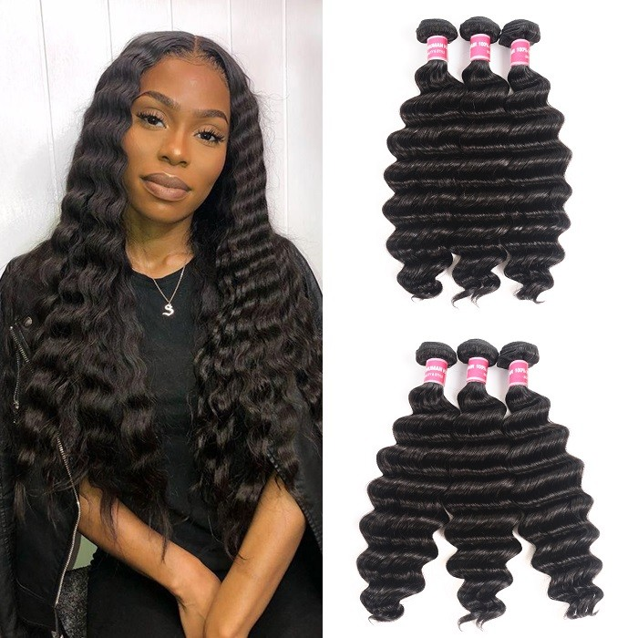 Kriyya Loose Deep Wave Bundles Indian 3 Bundles Weave Hair