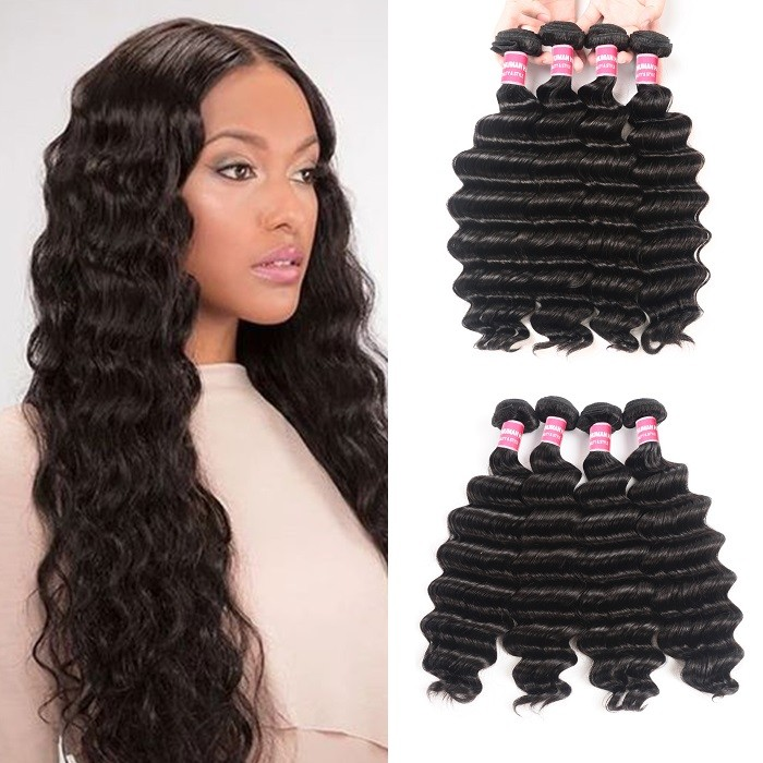 Kriyya Loose Deep Wave Weave 4 Bundle Deals Peruvian Unprocessed Virgin Hair