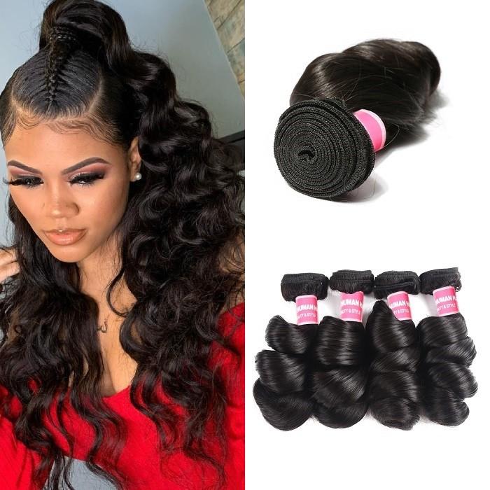 Kriyya Loose Wave Bundles 4 Pcs Brazilian Unprocessed Virgin Hair