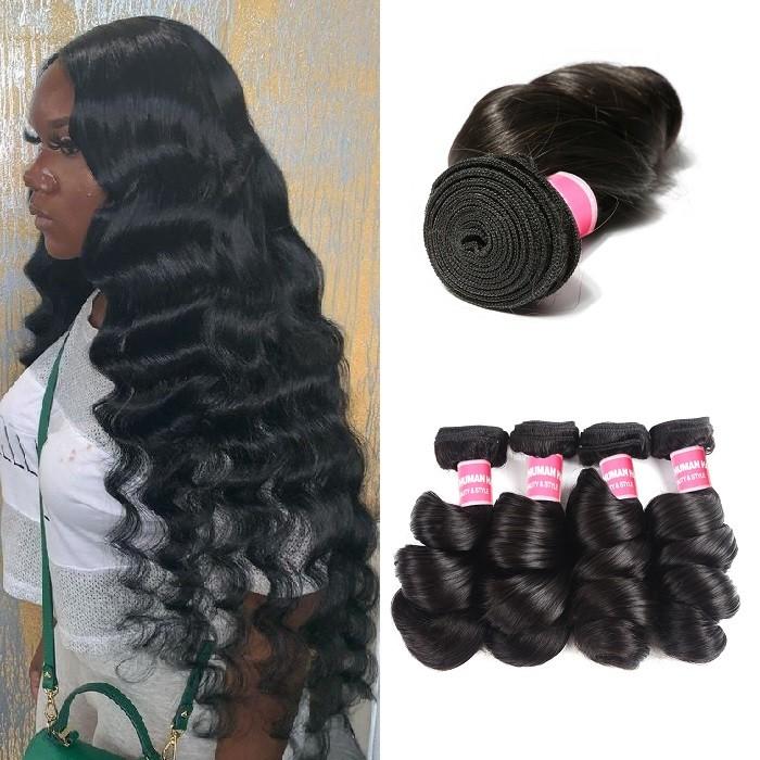 Kriyya Loose Wave Hair 4 Bundles Peruvian Human Hair Bundles 16-26 Inch