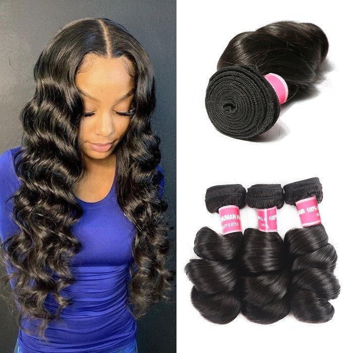 Kriyya Loose Wave Human Hair Bundles 3 Bundles Peruvian Virgin Human Hair