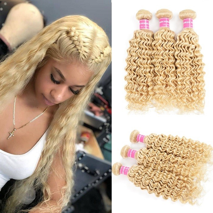 Kriyya 613 Blonde 3 Pcs Deep Wave Hair Weave Unprocessed Indian Human Hair
