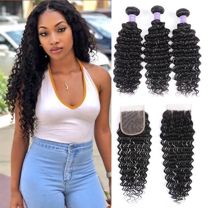 Kriyya  Malaysian Deep Wave Hair 3 Bundles Virgin Hair With 4*4 Lace Closure