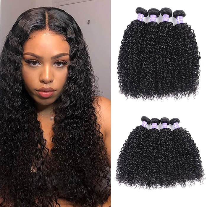 Kriyya Malaysian Jerry Curly Hair 4 Bundle Deals Unprocessed Human Hair Weave