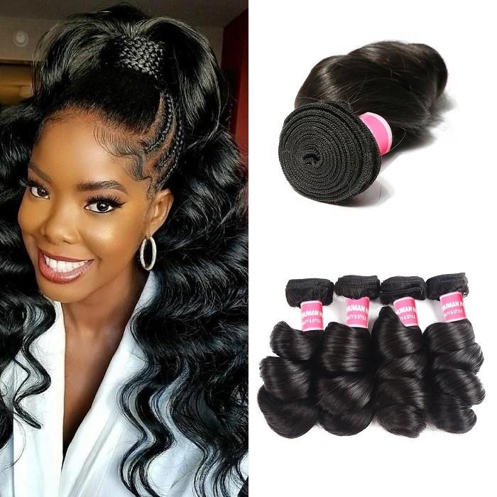 Kriyya Malaysian Loose Wave Unprocessed Virgin Hair 4 Bundles Natural Hair Weave