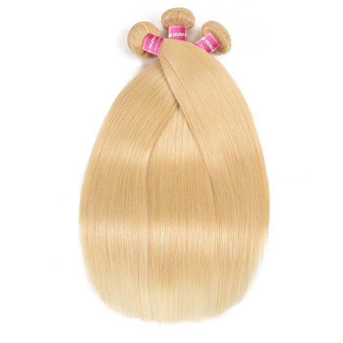 Kriyya Malaysian Straight 3 Pcs Human Hair 613 Blonde Hair Weave