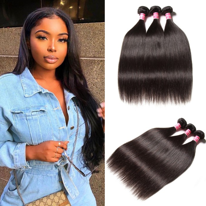 Kriyya Malaysian Straight 3 Pcs Human Hair Natural Hair Weave 9A Virgin Hair