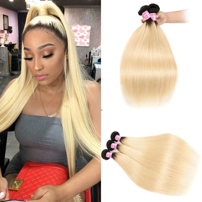 Kriyya 3 Pcs T1B/613 Ombre Virgin Hair Bundle Deals Malaysian Straight Hair