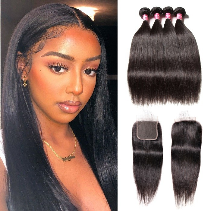 Kriyya Malaysian Straight Weave 4 Bundles Full Sew In With 5x5 Closure