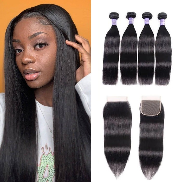Kriyya Malaysian Virgin Hair Straight Weave With 4x4 Closure Virgin Human Hair