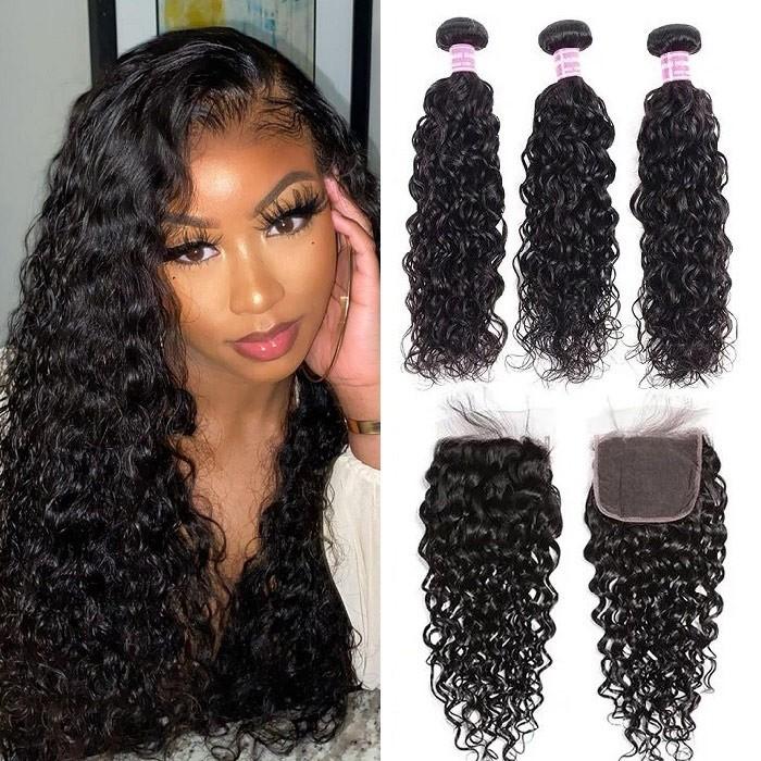 Kriyya Malaysian Water Wave Virgin Human Hair 3 Bundles With 4*4 Lace Closure