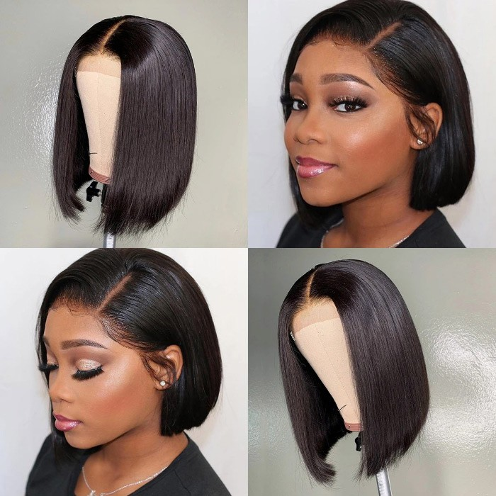 Kriyya Hand-tied 4x4 Lace Closure Straight Bob Wig Natural Hairline 150% Density