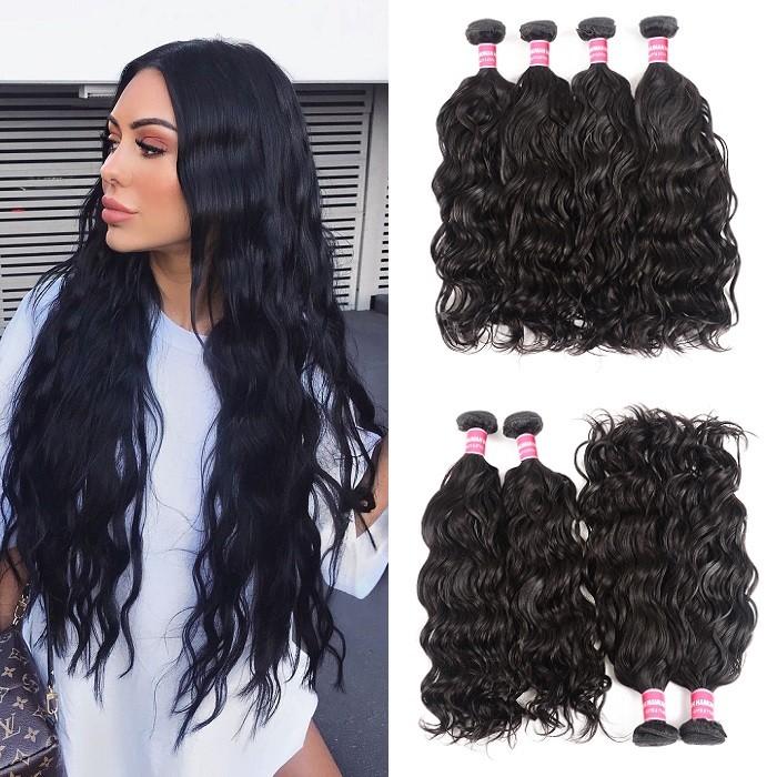 Kriyya Natural Wave Bundles 4 Pcs Brazilian Human Hair Weave