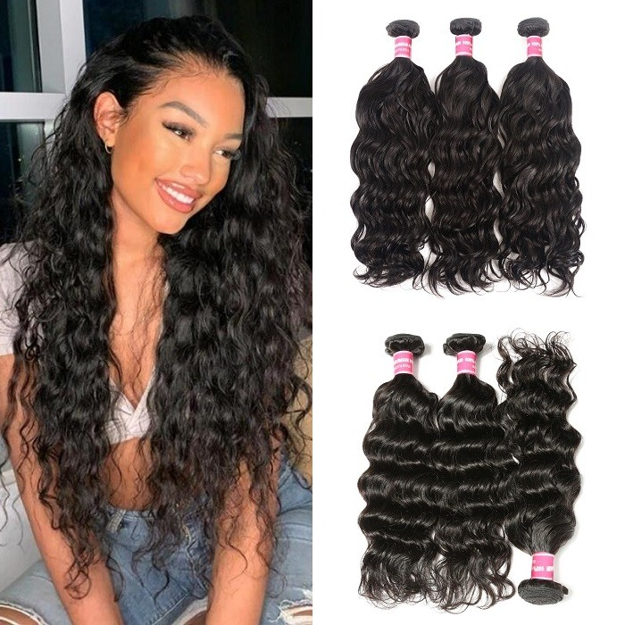 Kriyya Natural Wave Bundles Indian 3 Bundles Unprocessed Virgin Hair