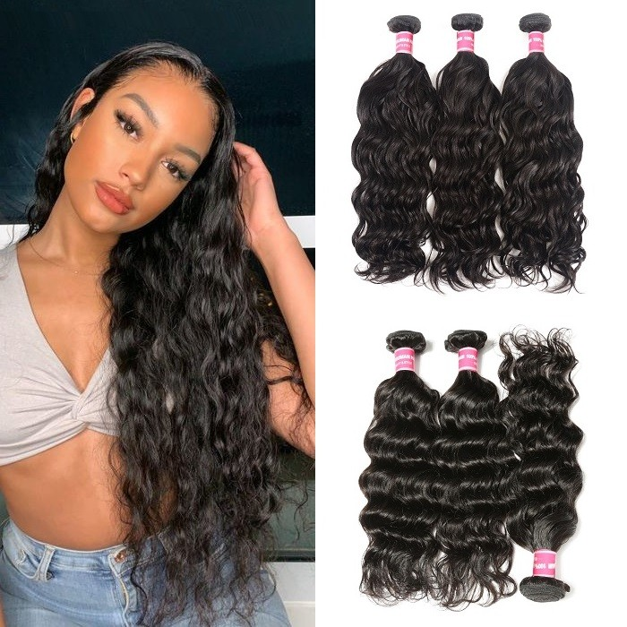 Kriyya Natural Wave Unprocessed Virgin Hair 3 Bundles Natural Hair Weave