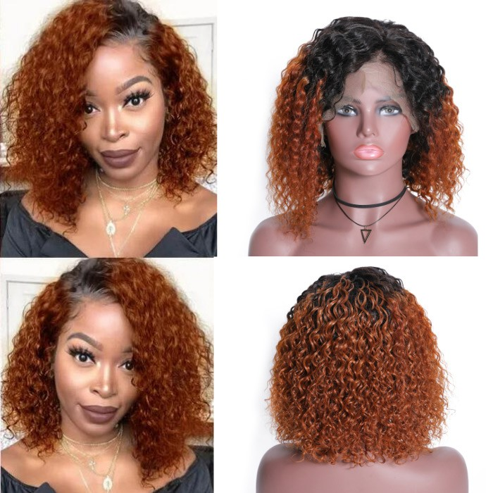 Kriyya Ombre Copper Red Bob Lace Front Wigs 150% Density Jerry Curly Human Hair Wig Cinnamon Hair Color