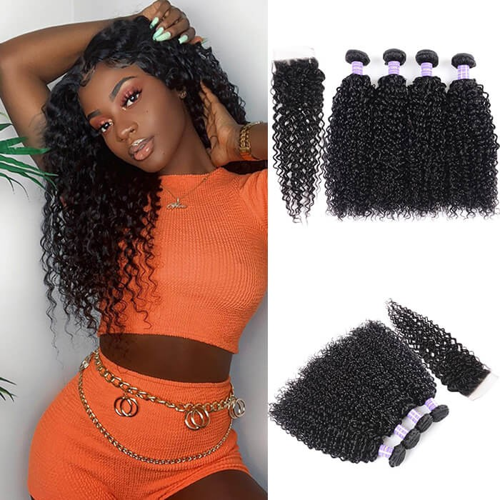 Kriyya Peruvian Curly Hair 4 Bundles With Lace Closure Sew In